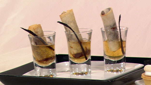 Chocolate rum'n'raisin springrolls