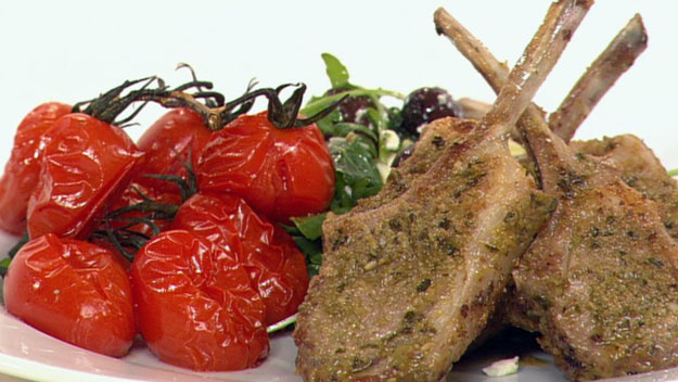 Lemon & olive-coated lamb cutlets