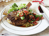 Rib steaks with capsicum and almond salsa