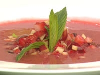 Red fruit salad with rhubarb and strawberry soup