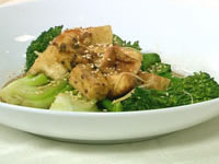 Steamed Asian vegies with ponzu tofu