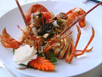 Stir-fry rock lobster with garlic and black pepper