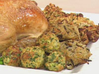 Chorizo stuffing, herb stuffing and zucchini & wild rice