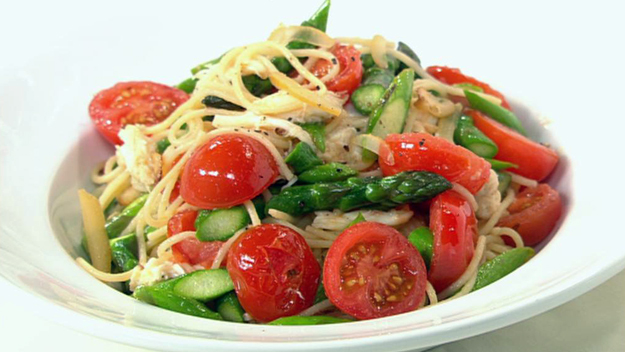 Crab and asparagus spaghettini