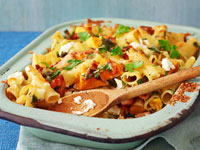 Baked pasta with fetta and pumpkin