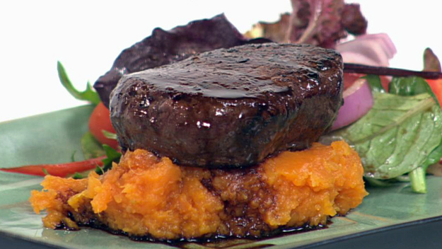 Super quick balsamic steak with sweet potato mash and greens