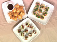 Roast beef and horseradish cups, deep-fried ravioli, crispy noodle bowls with pork