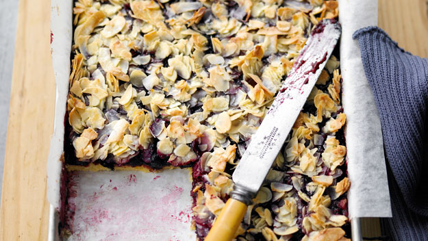 Berry, almond and coconut slice