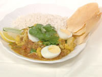 Lentil, cauliflower and egg curry