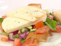 Grilled haloumi with bread salad