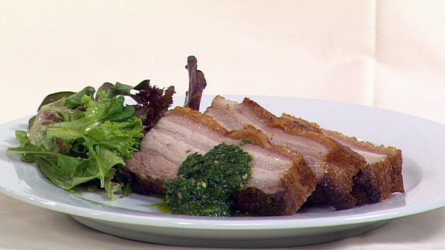 Crispy kurobuta pork belly with chimichirri sauce & green salad