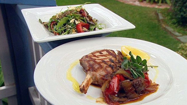 Pork cutlets with mediterranean salad
