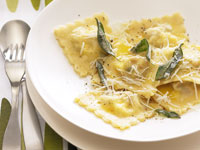 Pumpkin, fetta and sultana ravioli