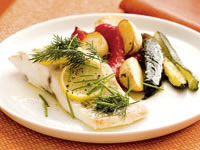Herb fish parcels with roasted vegetables