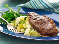 Chargrilled rump with potato, zucchini and fetta mash