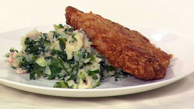 Sage pork chops with kale colcannon