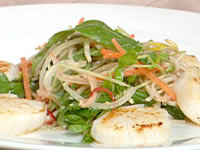 Seared scallops with soba noodles and coconut dressing