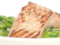 Teriyaki salmon with vegetable broth