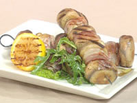 Pesto marinated trevalla and mushroom skewers with pancetta