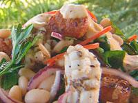 Squid, chorizo and white bean salad