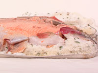 Roasted trout in herb salt crust