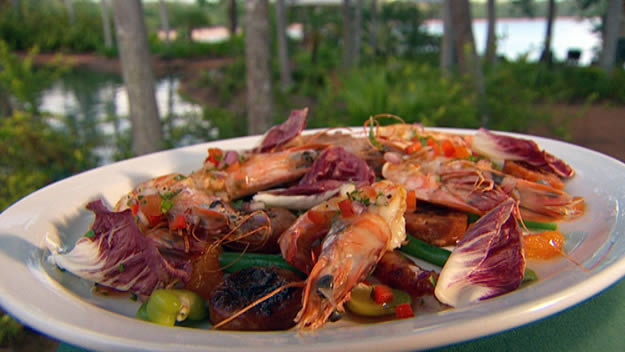 Bbq prawns and chorizo salad