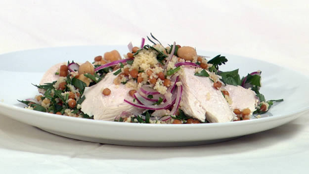 Chickpea & lentil tabouhli salad with poached chicken