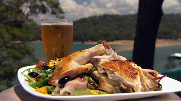Warm barbecued spatchcock and pumpkin salad