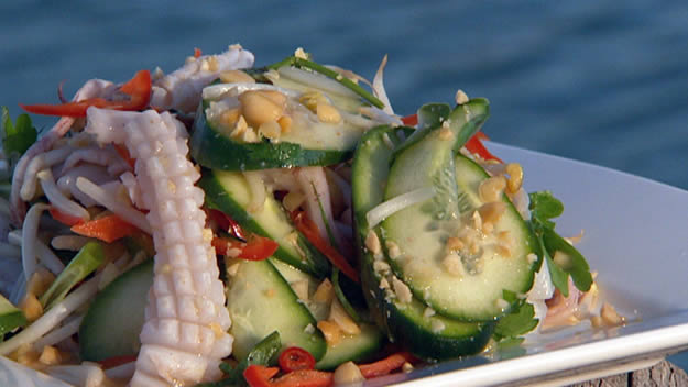 Barbecued thai squid salad