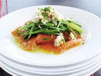 Smoked salmon and green bean salad with eggplant caviar