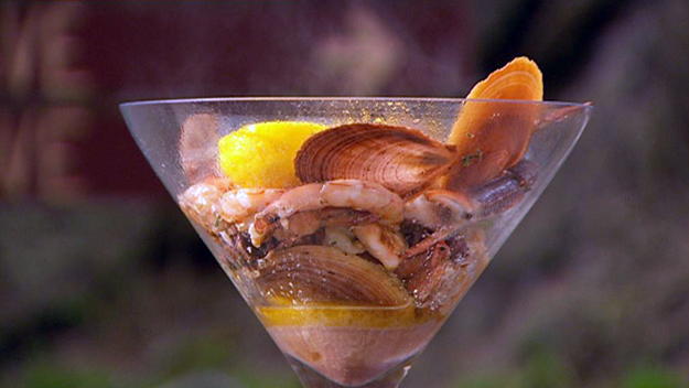 Barbecue seafood martini