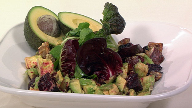 Roasted beetroot and avocado salad