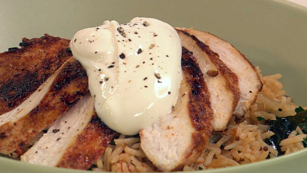 Buttermilk marinated chicken with tomato pilaf