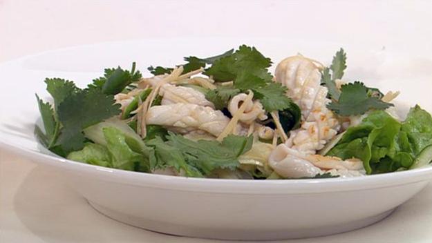 Calamari salad with tangy wasabi dressing