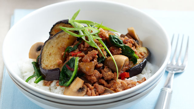 Eggplant & chicken mince hot pot for $9.60