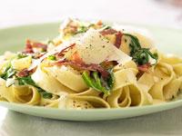 Fettuccine with spinach, prosciutto and cream sauce