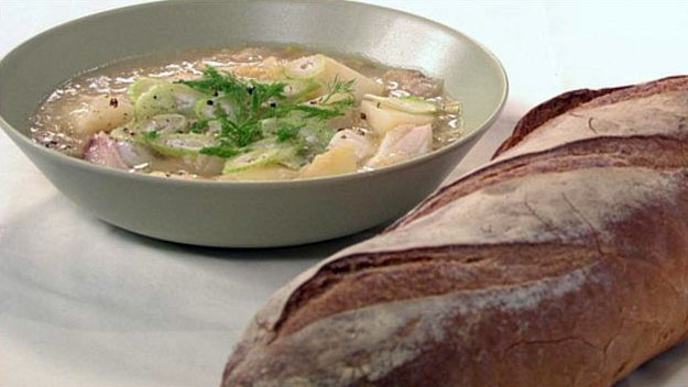 Warming fish, leek and potato stew
