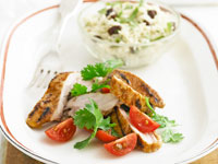 Grilled paprika chicken with raisin and coriander pilaf
