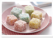 Rainbow lamington bites