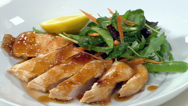 Warm lemon and ginger chicken salad