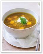 Curried lentil and pumpkin soup