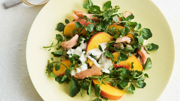 Smoked trout and peach salad