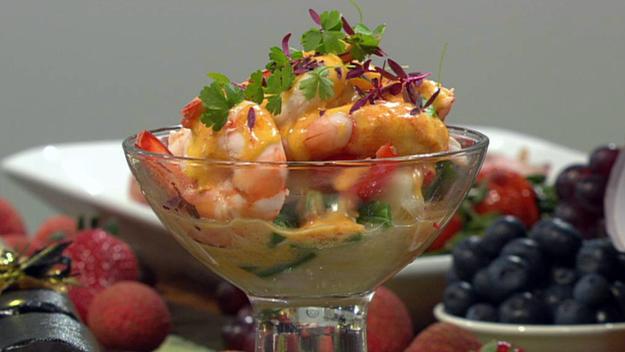 Warm prawn cocktail