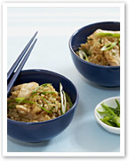Brown rice with chicken and ginger