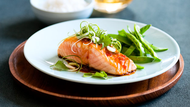 Salmon with teriyaki chilli sauce