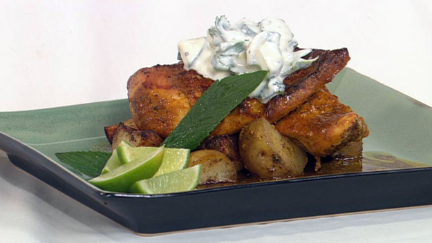 Tandoori chicken with spiced potatoes