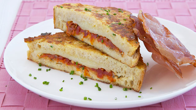 Tomato and cheese french toast