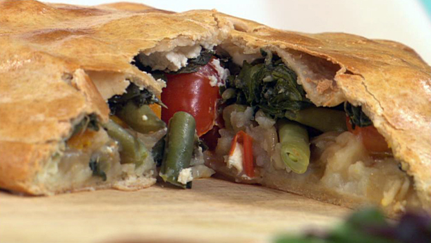 Spring vegetable and goat's cheese torta