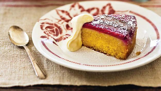 Rhubarb and orange upside down cake