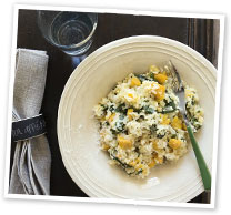Pumpkin and silverbeet risotto